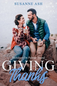 Cover for the book Giving Thanks by Susanne Ash. A couple wrapped up in warm clothes is sitting on a rock by the water.